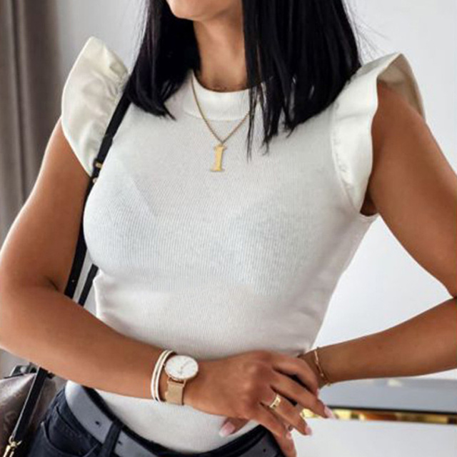 Women Ribbed Short Sleeve Shirt Women's Blouse Shirt 2020 Summer O-Neck Solid Color Ladies Tops Spring Sexy Slim blusas mujer 6