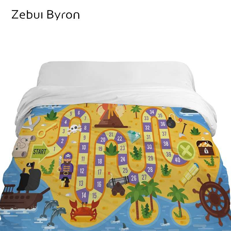 3D Cartoon Duvet Cover,comforter/Blanket Cover for kids/baby/children,Quilt cover for 90/150/135 bed,Bedding blue map