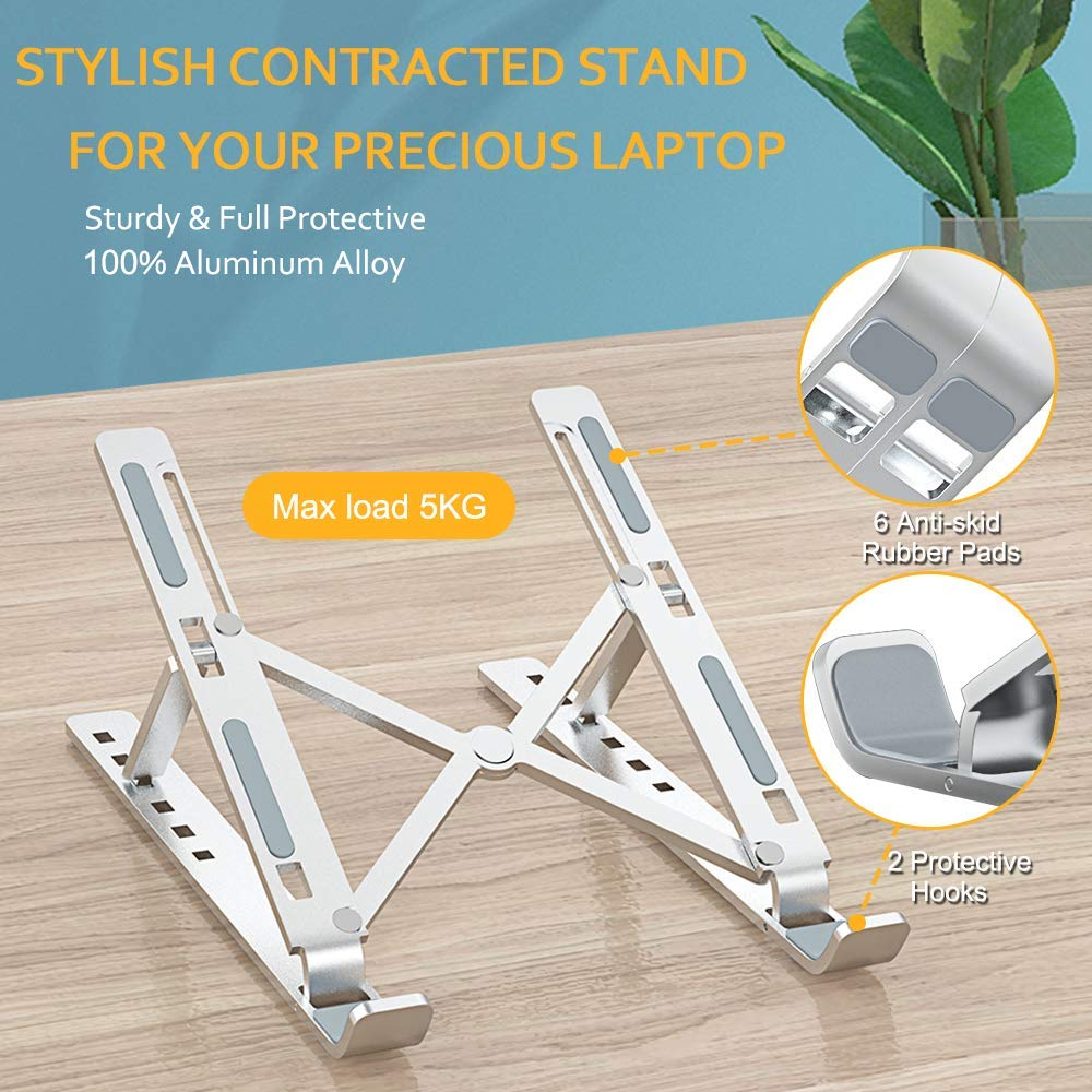 GOOJODOQ Laptop Stand for MacBook Pro Notebook Stand Foldable Aluminium Alloy Tablet Stand Bracket Laptop Holder for Notebook 5