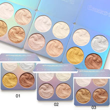 Paleta iluminadora de 4 cores para maquiagem, iluminador facial para cosméticos, contorno, pó de cozimento, iluminador e bronzeador