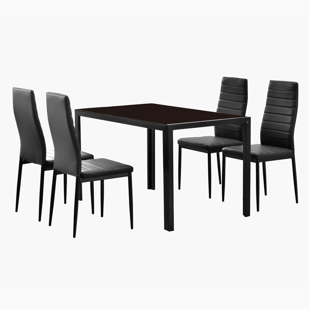 Simple Fashion Dinning Table Set 4 Chairs Black Glass Table And Chairs Set Elegant High Backrest Dinning Chair