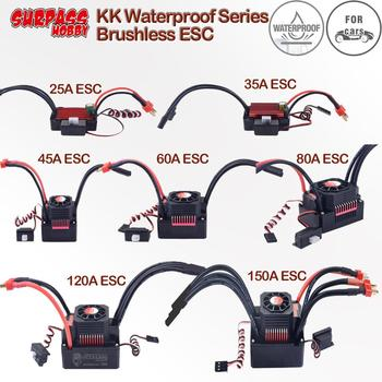 KK Waterproof Brushless 25A/35A/45A/60A/80A/120A/150A ESC for 1/20 1/18 1/16 1/14 1/10 1/8 RC Racing Car Buggy Truck
