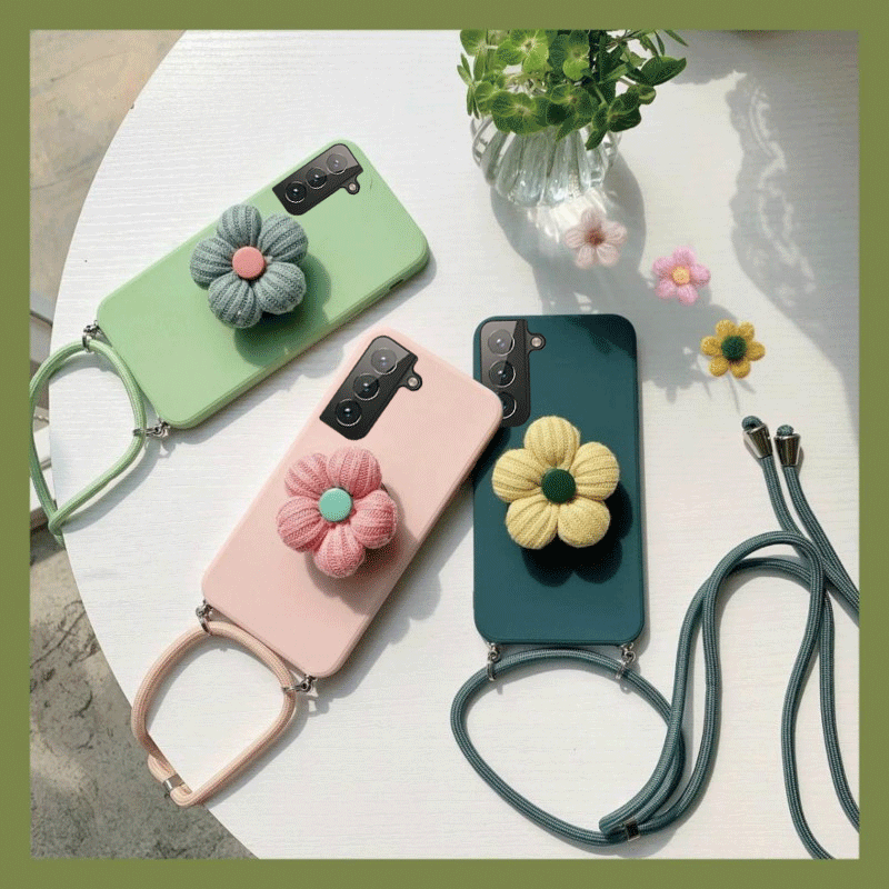 3D Flower Plush Stand Holder Cute Phone Case Samsung S21 Ultra A12 A42 M51 S20 Fe Note 20 Necklace Lanyard Shoulder Strap Cover