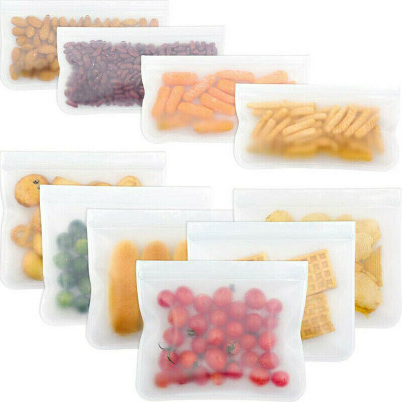 1Pcs PEVA Food Storage Bag Containers Reusable Freezer Bag Leakproof Top Ziplock Silicone Bags Kitchen Organizer Pouch