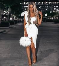 2020 novo verão moda feminina bodycon vestido de um ombro arco malha plissado sem mangas vestido bandage celebridade festa noite sexy