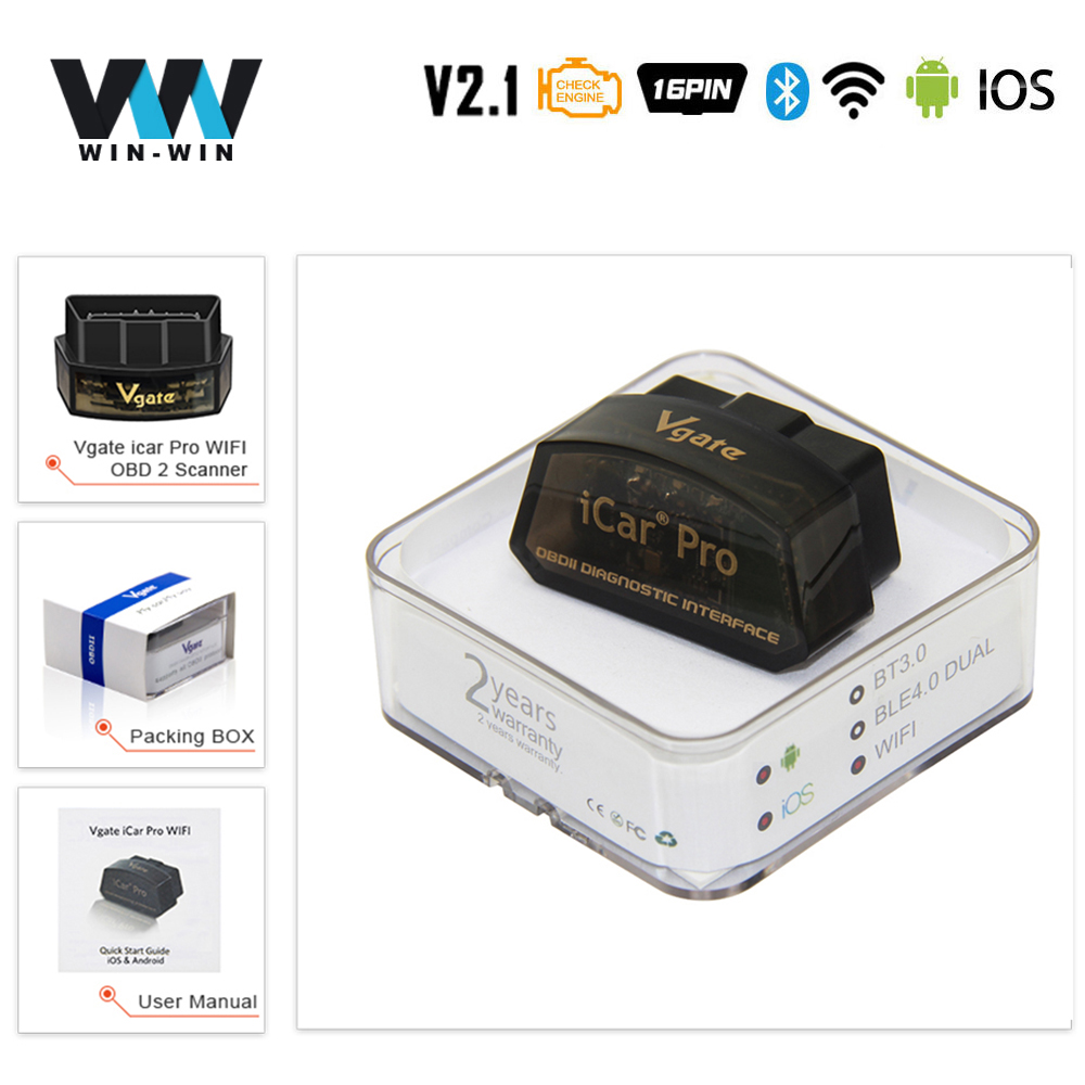 Vgate ICar Pro ELM 327 OBD2 Scanner Bluetooth 4.0 WIFI For Android/IOS OBD Car Diagnostic Auto Tool ELM327 V2.1 Easydiag PK V1.5