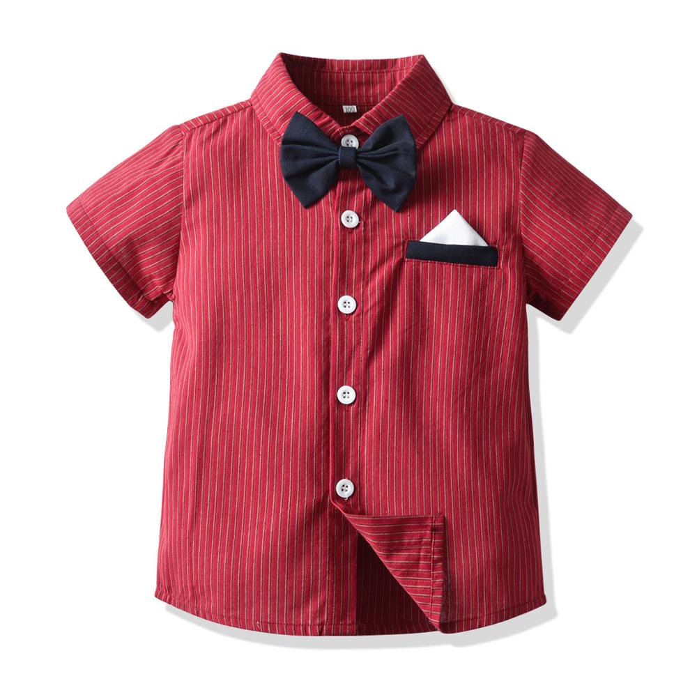 Kid Boy Birthday Party Clothes Set Formal Suit Bow Tie Summer Kids Red Striped Shirt Shorts Children Graduation Gown Outfit Gift 3