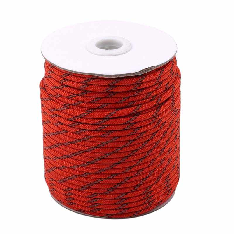 Red, 5mm HIKEMAN 50m Reflective Guyline Solid Braid Nylon Camping Rope with Aluminum Adjuster Cord Tensioner Tent Accessory for Outdoor Travel,Hiking,Backpacking and Water Activities