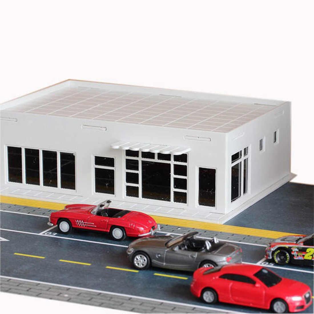 1:87 HO Scale DIY 조립 슈퍼마켓 편의점 건물 철도 풍경 모래 테이블 레이아웃 어린이 완구