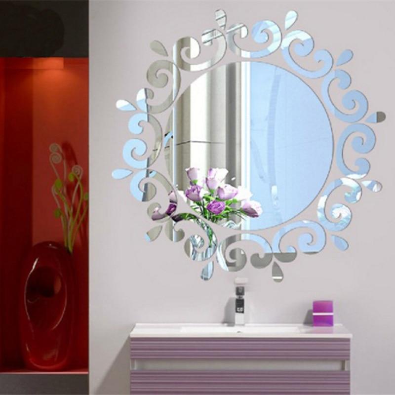 3D зеркальная настенная наклейка, круглая Современная зеркальная Настенная Наклейка с перьями, украшение для дома, наклейка для комнаты, Фреска, сделай сам|Декоративные зеркала|Дом и сад - AliExpress