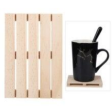 Posavasos de madera hecho a mano, suministros de artesanía del hogar para oficina, Hotel, accesorios de tazas, 4 Uds.