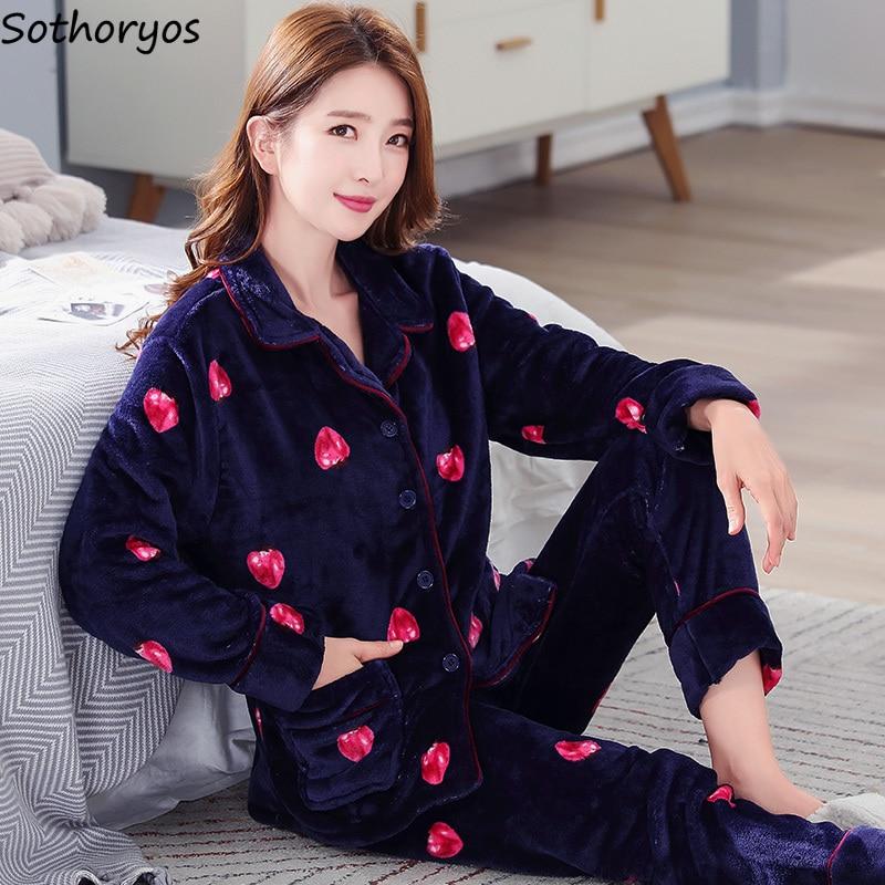 Pajama Sets Women Turn-down Collar High Quality Long Sleeve Womens Winter Pajamas Comfortable Lovely Korean Style Printed Chic 31