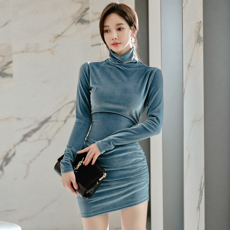 BacklakeGirls New 2020 Autumn Dress Fashion Velvet Dress Elegant High Neck Long Sleeve Blue Velour Dresses For Women