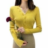 Модный свитер с высоким воротом на пуговицах, весенне-осенний однотонный вязаный пуловер, женский тонкий мягкий джемпер, розовый свитер Kawaii...