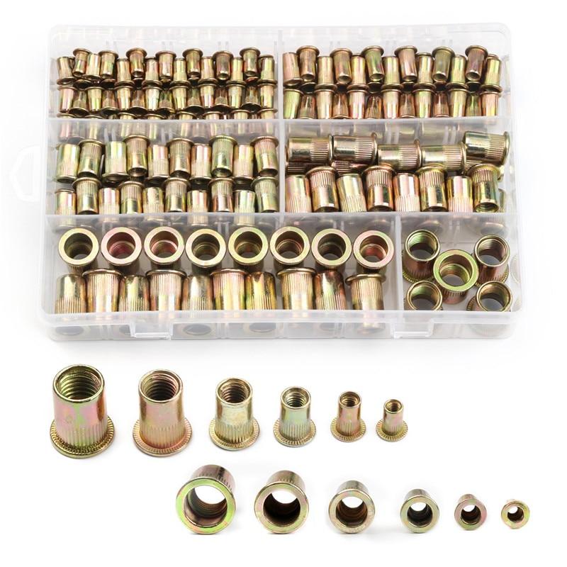 210/100PCS Box Carbon Steel Rivet Nuts M4 M5 M6 M8 M10 M12 Flat Head Rivet Nuts Set Hardware Parts Multi Sizes Insert Rivet Nuts