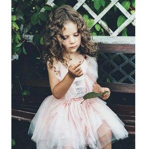 Image 4 - فستان بناتي مطرز بالدانتيل ومكشكش للكريسماس مصنوع يدويًا للأطفال فساتين منتفخة بالترتر لحفلات الأميرات ملابس للفتيات CA968