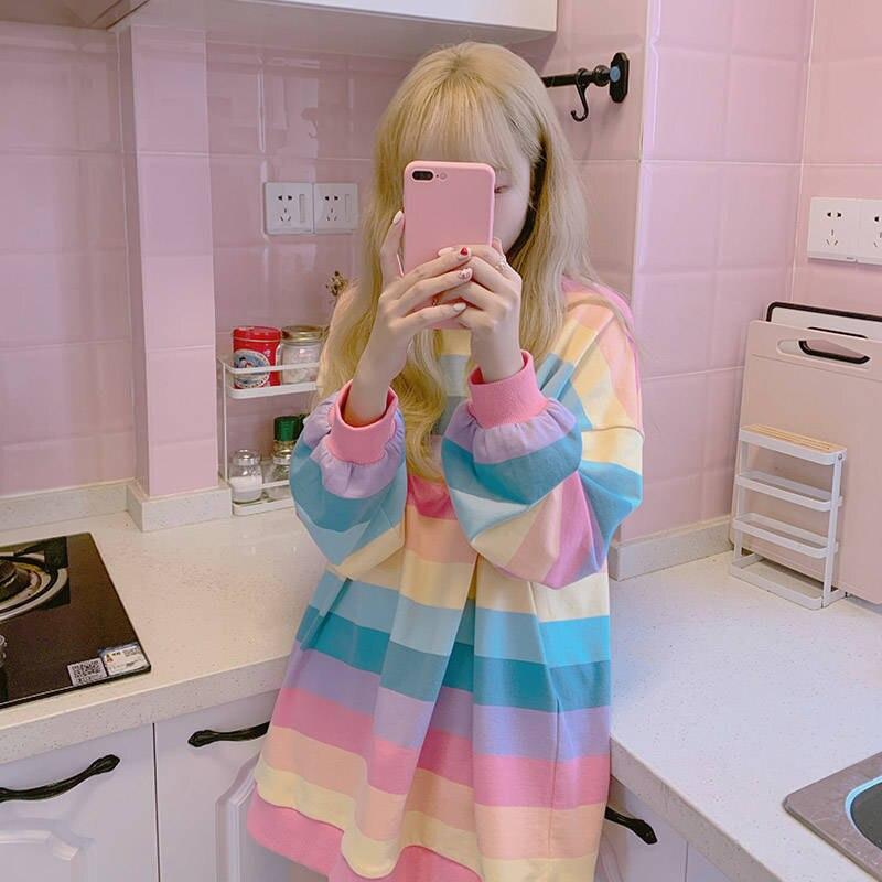 Осенняя Ulzzang, шикарная Повседневная Женская Полосатая футболка с длинным рукавом, радужная Женская свободная футболка Харадзюку, уличная ж...
