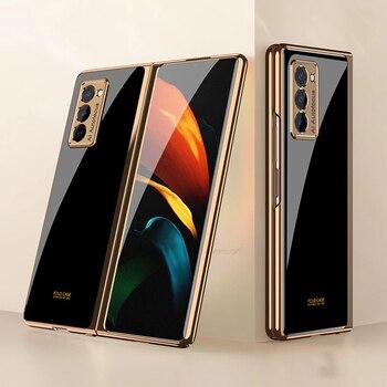 Plating Glass Case For Samsung Galaxy Z Fold 2 Case 360 Full Protection Cover For Samsung Galaxy Z Fold2 5G Flip Shockproof