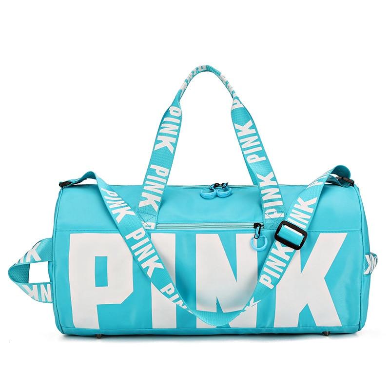 2019 Fashion Design Sequins PINK Letters Gym Fitness Sports Bag Shoulder Crossbody Bag Women Tote Handbag Travel Duffel Bolsa