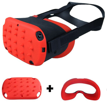 Nowość VR Protection skórzany pokrowiec na Oculus Quest Shell Cap Premium silikonowe akcesoria ochronne Anti-Throw Sweatproof Lightproof tanie i dobre opinie Esimen for Oculus Quest VR Glasses Black Red Blue Silicone Fitted for Oculus Quest VR Glasses Eye Mask Cover for Oculus Quest VR Glasses Face Mask Case Cover