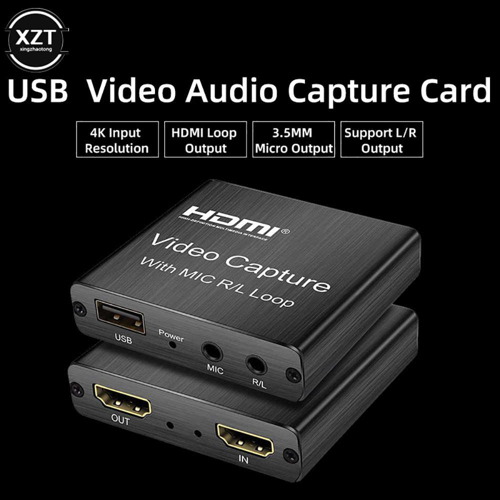USB 2.0 HDMI Audio Video Capture Card Loop 1080P 30fps Rekaman Kotak dengan 3.5Mm Mic R/L Loop untuk PS4 Permainan Live Streaming 4K