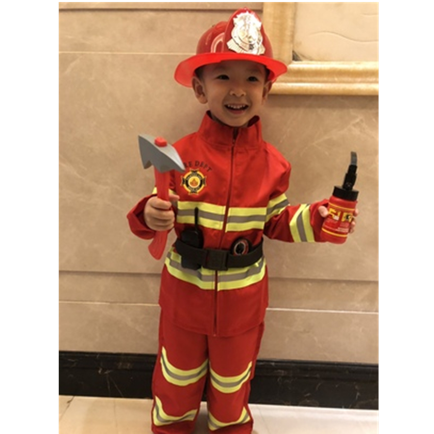 2019 Teenager Fireman Sam Uniform Children Halloween Cosplay Firefighter Costumes Carnival Accessories Team Wear For Kids