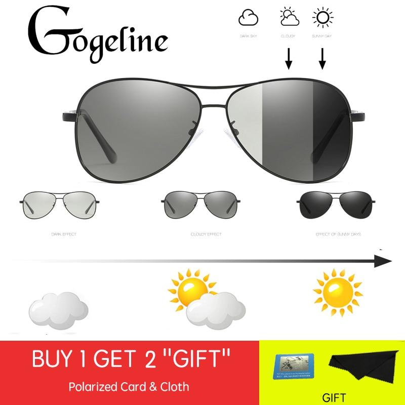 2019 lunettes de soleil photochromiques hommes polarisées caméléon décoloration conduite aviation lunettes de soleil pour hommes femmes UV400 cadre en métal