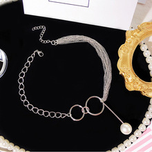 New Bohemia Vintage Multilayer Pearl Pendant Necklace Fashion Silver Color Chain Boho Simple Choker Necklaces Jewelry