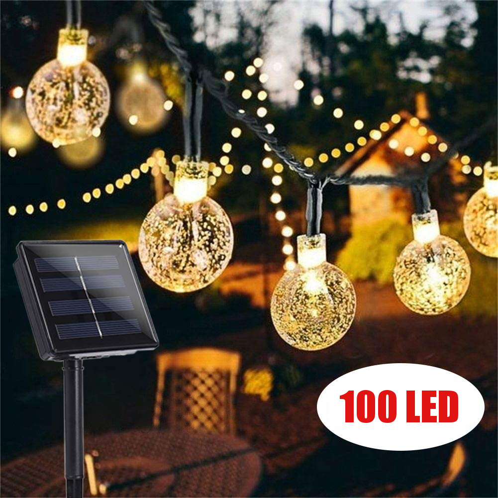 12M 100 LED Crystal Ball Solar Waterproof Outdoor String Lights Solar Powered Globe Fairy String Lights for Christmas