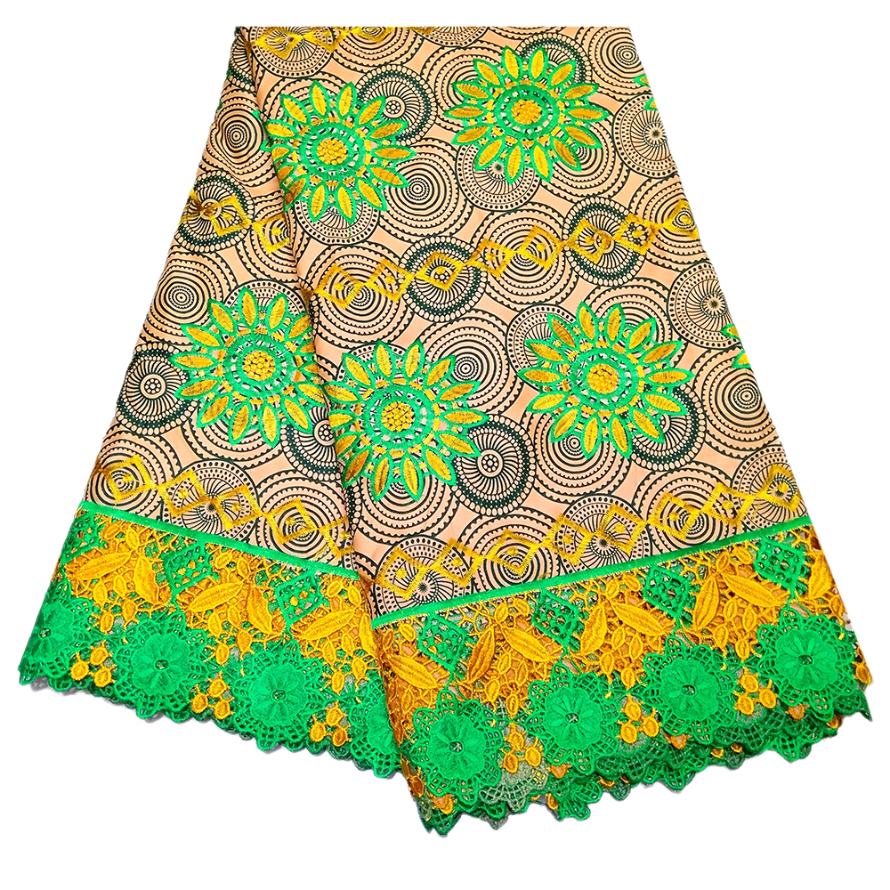 2019 New Dutch Wax African Real Wax African Sun Flower Embroidery Lace Fabric 6Yards\lot