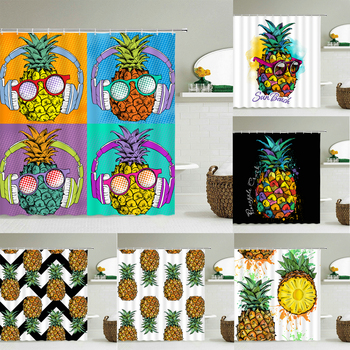 3D Pineapple Pattern Bathroom Curtain Fresh Plant Bath Curtain Waterproof Fabric Shower Curtains Decorative 240X180 With Hooks image
