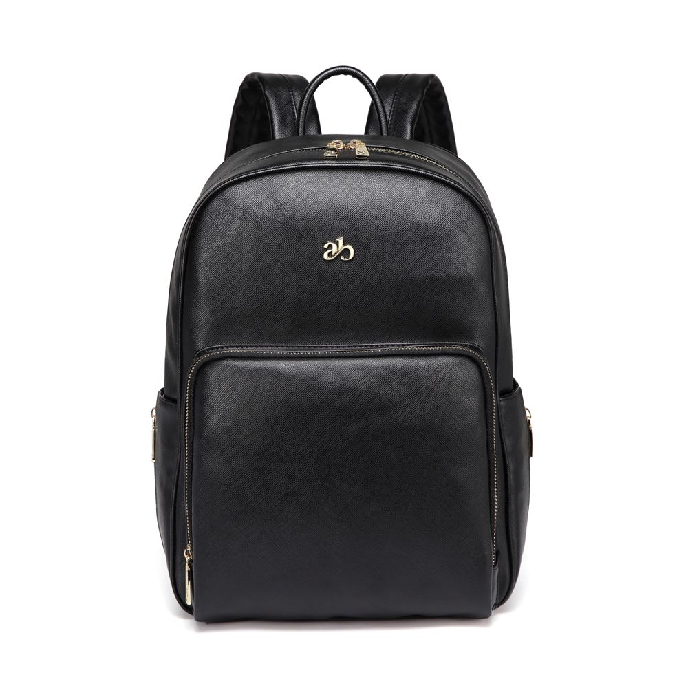 New Fashion PU Black Diaper Backpack for Baby Large Capacity Waterproof Pockets Diaper Bag for Mother Travel Stroller Bag