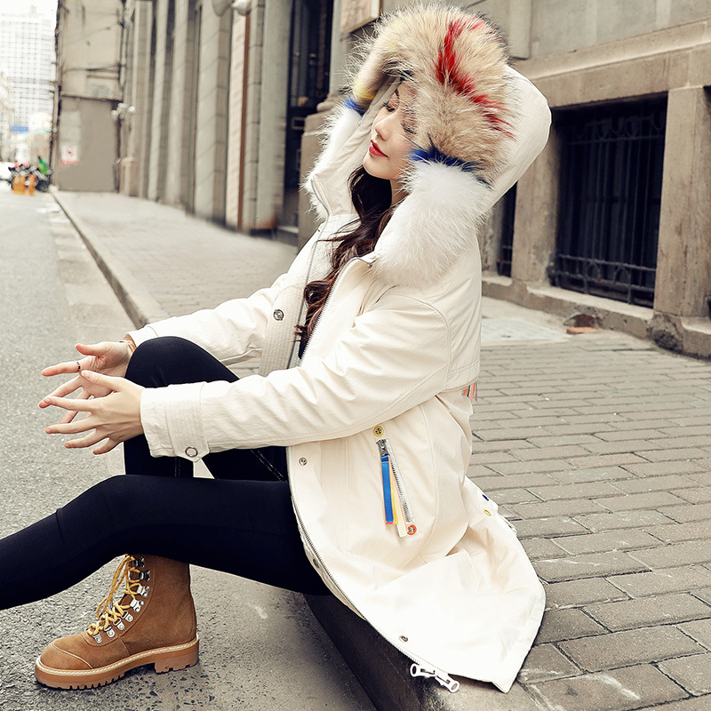 Hot Sale Winter Women Coats And Jackets Duck Down Jacket Female Real Raccoon Fur Long Hooded Coat Abrigos Mujer LX2308