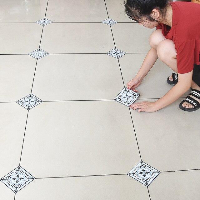 10 ピース/ロット pvc 防水タイル斜めステッカー 12X12cm 自己粘着壁タイルデカール家具浴室 3D 床の装飾ステッカー