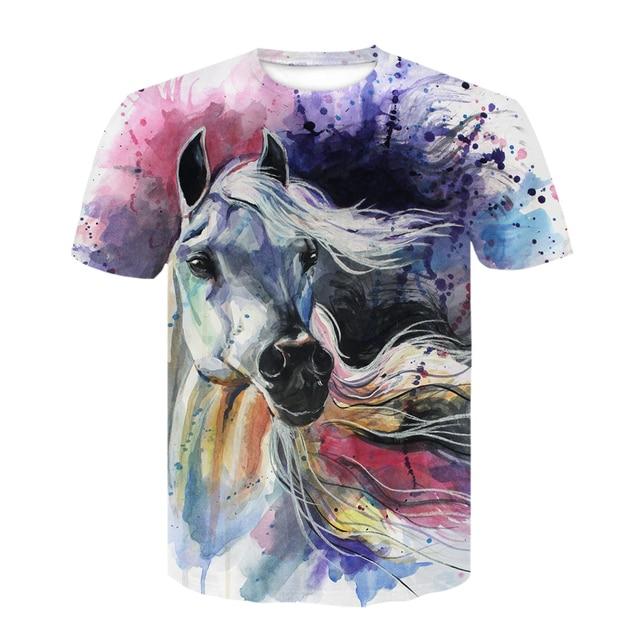 Summer New O-neck Wearing A flower Headband Horse T-Shirt 3D Fashion T Shirt Animal Clothes Men Women Large Size Tshirt Dropship 6