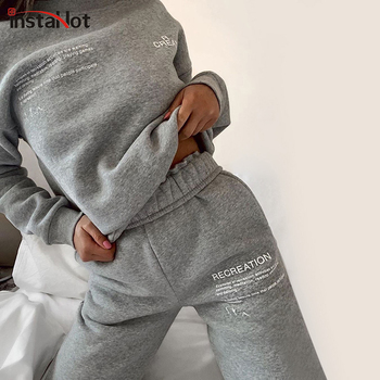 InstaHot Sweatpant Women Drawstring Elastic Waist Trousers Cotton Letter Printed Cargo Pants 2020 Leisure Homewear Gray White man white american flags printed leisure jeans high elastic cultivate morality leisure pentagram red pants