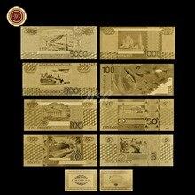 Россия 8 моделей бумажных денег 5.10.50.100.500.1000.5000 банкнот полный русский набор золотых банкнот чистая Золотая фольга