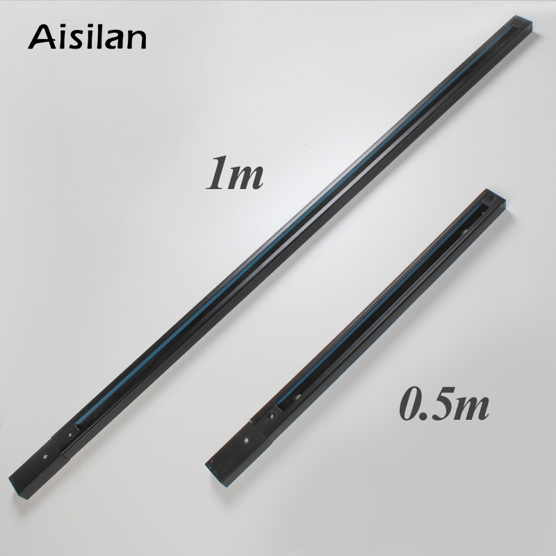 Aisilan Track Light Rail For Track Lamp 0.5m Black White For Spotlight Aluminum+Copper Wire (Buy Track Give Connector For Free)
