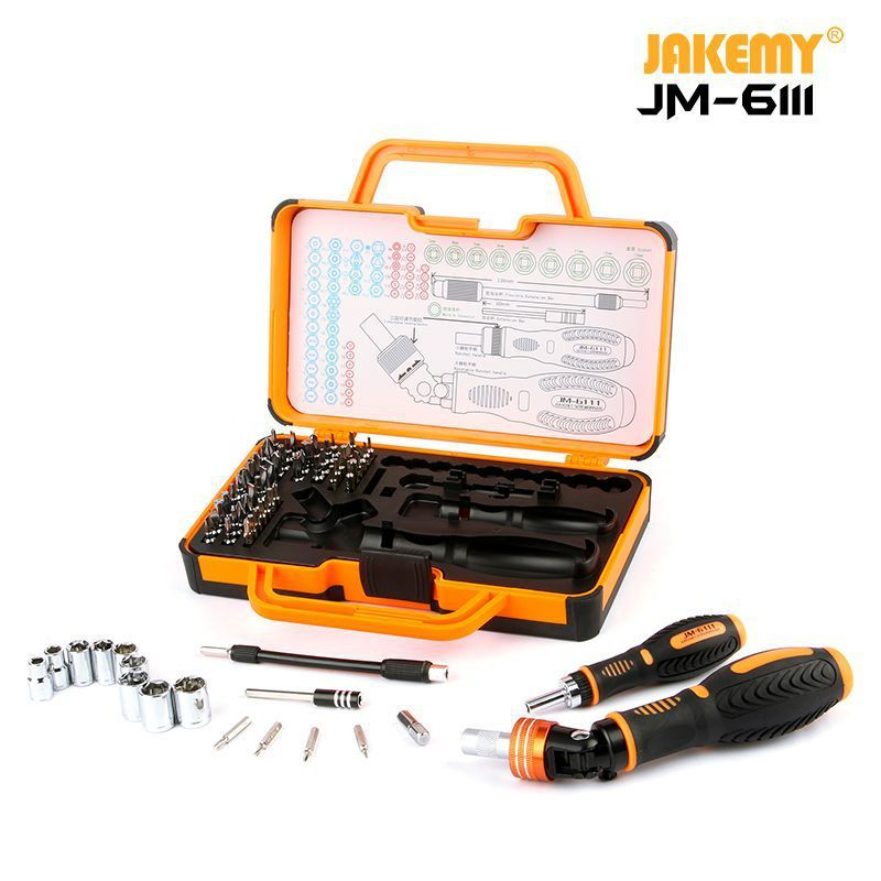 JAKEMY JM-6111 69 in 1 DIY Hand Tool Set 180 Degrees Ratchet Screwdriver with Chrome Vanadium Bits Home Tools