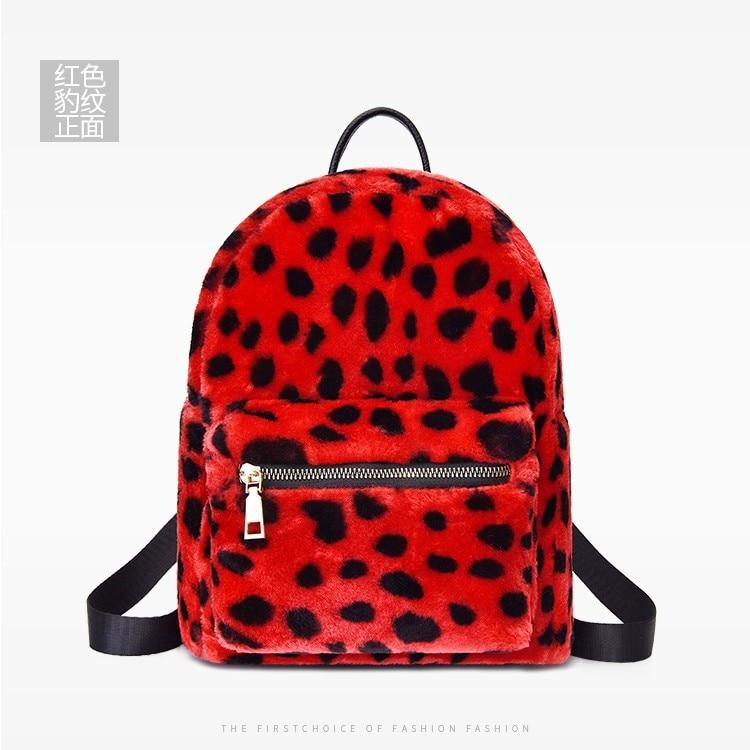 Ougger маленький женский рюкзак леопардовая сумка красный велюр Высокое качество женские сумки 2019 для покупок