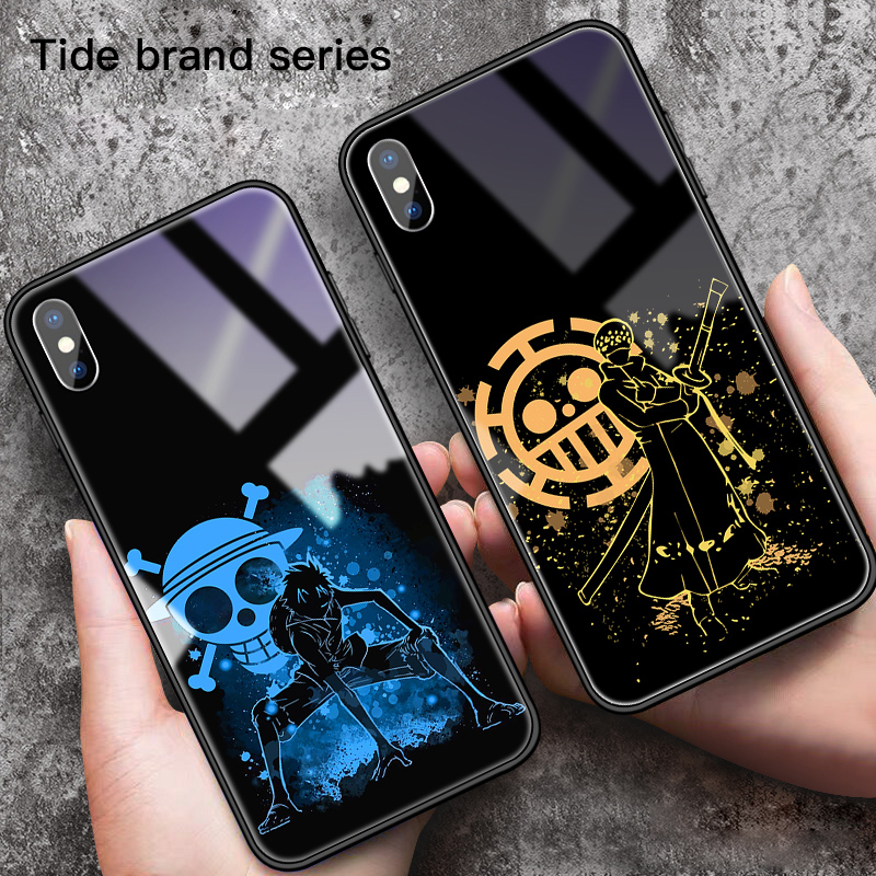 Cartoon One Piece Luffy Tempered Glass Phone Case For iPhone 11 Pro SE XSmax XR XS