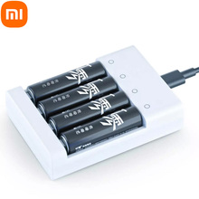 Xiaomi USB 4 Slots Fast Charging Battery Charger Short Circuit Protection AAA and AA Rechargeable Battery Station