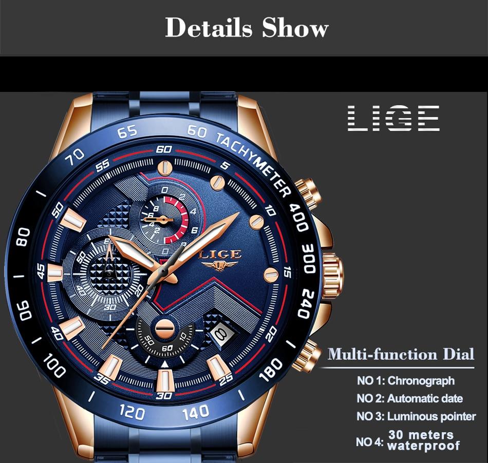H865ef72e0a654170912777b037c4ea44f LIGE Men Watches Top Brand Luxury Stainless Steel Blue Waterproof Quartz Watch Men Fashion Chronograph Male Sport Military Watch