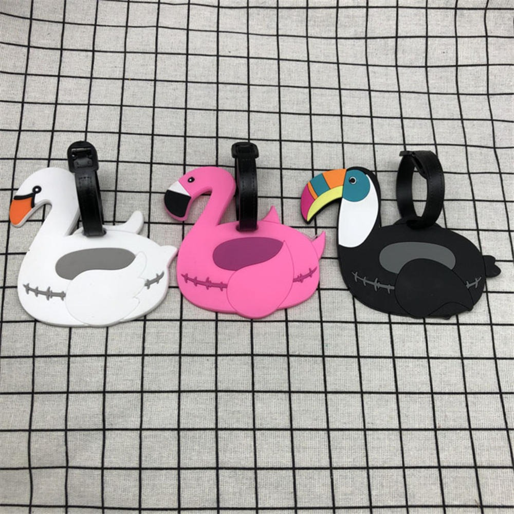 Travel Accessories Creative Baggage Boarding Tags Luggage Tag Flamingo Cartoon Silica Gel Suitcase ID Addres Holder Portable Lab