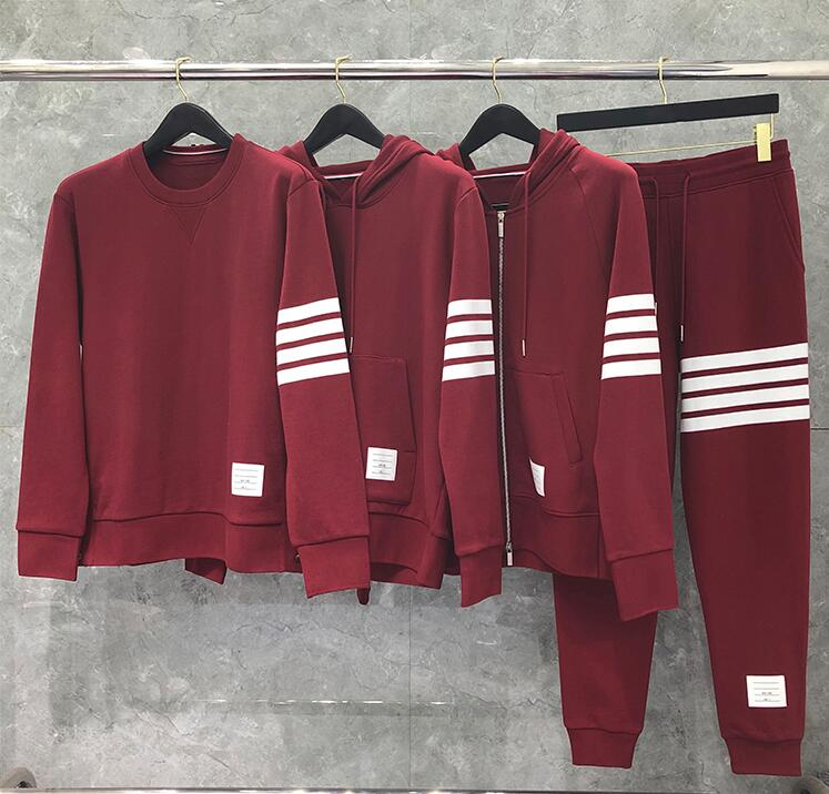 2020 Fashion TB THOM Brand Hooded Clothing Loose Cotton Jacket Men Women Striped Sweatshirts Hoodies Red Casual Sportswear Coat