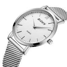 BIDEN Classic Mens Watch Simplicity Modern Quartz Unisex Wristwatches 2019 Silver Stainless Steel Fashion Waterproof Male Clock