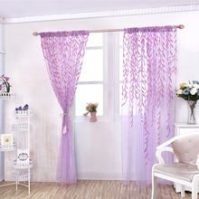 Romantic Style Willow Leaves Printed Tulle Curtains Blinds Voile  Floral Window Screening Living Room Furniture Home Decor D25