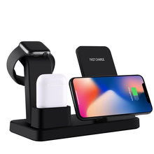 10W Fast Qi Wireless Charger Pad for Apple Watch 1 2 3 4 Wireless Charging Dock For iPhone XR XS For Samsung For AirPods 2(China)