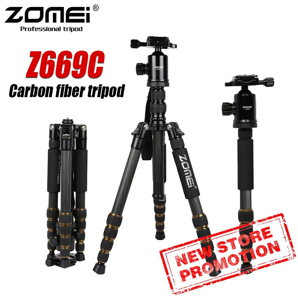 Zomei Z669C Professional Carbon Fiber Tripod Monopod Compact Tripe Stand Ball Head For Travel Digital DSLR Camera GoproTripode