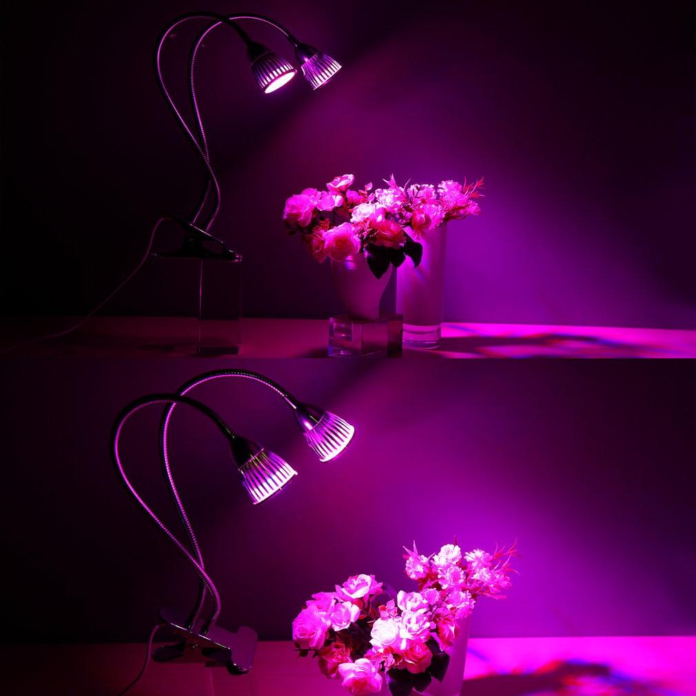 10W Double Head Gooseneck LED Plant Grow Light Clip Table Lamp Hydroponic Desk Grow Light Garden Lighting LED Grow Light